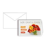 """Grußkarte """"Wir gratulieren"""", Format B6, 170 x 115 mm, mit Kuverts & doppelten Einlagen, orange, Karton, 10 Stück"""