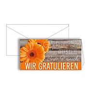 """Grußkarte """"Wir gratulieren"""", Format DIN lang, 206 x 103 mm, mit Kuverts & doppelten Einlagen, orange, Karton mit UV-Lackierung, 10 Stück"""