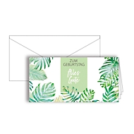"""Grußkarte """"Zum Geburtstag alles Gute"""", Format DIN lang, 206 x 103 mm, mit Kuverts & doppelten Einlagen, grün, Karton, 10 Stück"""