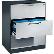 Hängeregistraturschrank ASISTO C 3000, 3 Schubladen, 2-bahnig, B 800 mm, anthrazit/alusilber