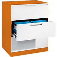 Hängeregistraturschrank ASISTO C 3000, 3 Schubladen, 2-bahnig, B 800 mm, orange/weiß