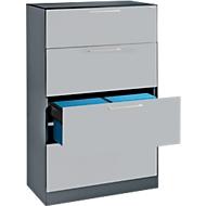 Hängeregistraturschrank ASISTO C 3000, 4 Schubladen, 2-bahnig, B 800 mm, mit Akustikblenden, anthrazit/alusilber