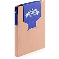 Haftnotizbuch, farbige Stecklasche, blau