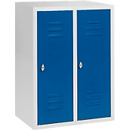 Halfhoge kledinglocker, 2 compartimenten, 300 mm, draaigrendelslot, lichtgrijs/gentiaanblauw
