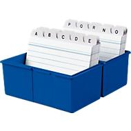 HAN kaartenbak, kunststof, A7 liggend, blauw