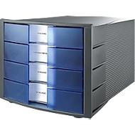 HAN Schubladenbox Impuls, 4 Schübe, Gehäuse anthrazit/Schublade blau transparent