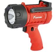 Handheld spot PROTECH S0233, LED, bereik 300 m, batterij 100 h, draagriem, IP 67, 250 lm