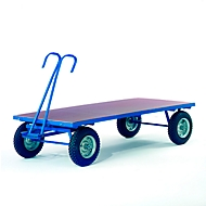 Handvrachtwagen zonder platformhekken, massief rubberen wielen, 2000 x 1000 mm, zonder platformhekken.