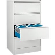 Hangmappenkast B 780 x D 580 x D 580 x H 1350 mm, plaatstaal lichtgrijs, 4 laden dubbelstrooks + 50 DIN A4 Hangmappen, blauw