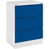 Hangmappenkast, H 23 S, 2 rijen, lichtgrijs/gentiaanblauw