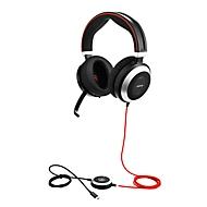 Headset Jabra Evolve 80, bedraad, binaural, USB 2.0/3.0/Type-C/3.5 mm Jack, actieve/passieve ruisonderdrukking, Busylight