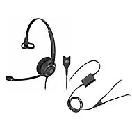 Headset Sennheiser SC 230, kabelaansluiting/monogeluid, met telefoonadapter CEHS-AV04, koptelefoon verstelb.