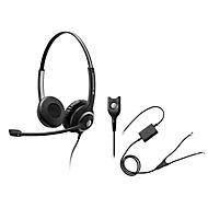 Headset Sennheiser SC 260, kabelaansluiting, stereogeluid, koptelefoon verstelbaar, en telefoonadapter CEHS-AV04