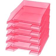 helit brievenbak Economy, rood transparant, 5 stuks