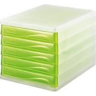 helit Schubladenbox, 5 Schübe, DIN A4, Polypropylen, Gehäuse weiß-transluzent/Schublade apple