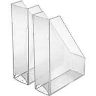 HELIT tijdschriftenhouder, A4 - C4, polystyreen, 2 stuks, glashelder