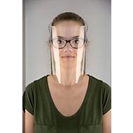 Herbruikbaar vizier tegen spatten Komfort 2.0, voor brildragers, van PET, met verstelbare hoofdband, transparant, 5 stuks