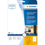 Herma glänzende Folien-Etiketten Nr. 8020 auf DIN 4-Blättern, 25 Etiketten, 25 Bogen