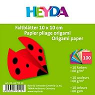 HEYDA Faltblätter, sortiert, 100 Blatt, 10 x 10 cm