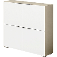 Highboard Nizza, 4 deuren met 1 legbord, multifunctioneel, B 1118 x H 1136 mm, glas zand/wit glas