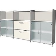 Highboard Toledo, 2 schuifladen, 3 vakken, 3 ordnerhoogten, glazen deuren, B 2360 x D 380 mm, wit