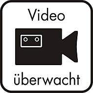 Hinweisschild–Hinterglasaufkleber: Video überwacht, 125 x 125 mm
