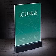 Hochwertiger Tischaufsteller A4: Edles Design, in den Maßen 221 x 341 x 46 mm