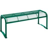 Hockerbank, 2-Sitzer, mit Gitternetz, für Außenbereich, tannengrün (RAL 6009)