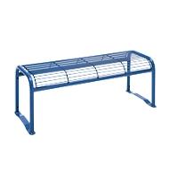 Hockerbank, 2-Sitzer, mit Gitternetz, für Außenbereich, violettblau (RAL 5000)