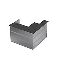 Hoekbalie Tool, B 1500 x D 1500 x H 1100 mm, antraciet/MDF zilver