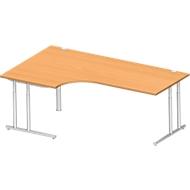 Hoekbureautafel 90° COMBITEC, B 2000 x D 800 mm, beukenpatroon/blank aluminium