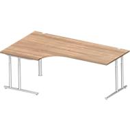 Hoekbureautafel 90° COMBITEC, B 2000 x D 800 mm, kersen-Romana/blank aluminium