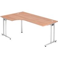 Hoekbureautafel 90° JENA, C-poot, links/rechts monteerbaar, B 2000 mm, notenhoutpatroon