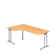 Hoekbureautafel 90° JENA, C-poot, vrije vorm, links/rechts, B 2000, onderstel verchroomd, beukenpatroon