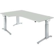 Hoekbureautafel 90° PLANOVA ERGOSTYLE, aanbouw links, handmatig in hoogte verstelbaar, B 2000 mm, lichtgrijs/blank aluminium