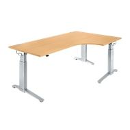 Hoekbureautafel 90° PLANOVA ERGOSTYLE, aanbouw rechts, eentraps elektrisch in hoogte verstelbaar, B 2000 mm, beukenpatroon/blank aluminium