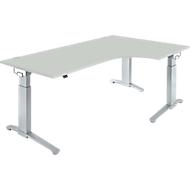 Hoekbureautafel 90° PLANOVA ERGOSTYLE, aanbouw rechts, handmatig in hoogte verstelbaar, B 2000 mm, lichtgrijs/blank aluminium