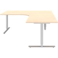Hoekbureautafel BARI 90°, T-poot, Tafel in vrije vorm, hoek rechts, B 1800 x D 1000/800 x H 680-820 mm, esdoorn/aluminium