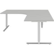 Hoekbureautafel BARI 90°, T-poot, Tafel in vrije vorm, hoek rechts, B 1800 x D 1000/800 x H 680-820 mm, lichtgrijs/aluminium