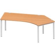 Hoekbureautafel MODENA FLEX 135°, aanbouw rechts, beuken