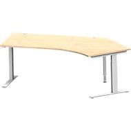 Hoekbureautafel MODENA FLEX 135°, aanbouw rechts, C-poot rechthoekige buis, B 2165 mm, esdoorn/wit