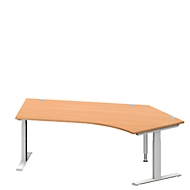 Hoekbureautafel MODENA FLEX 135°, T-poot rechthoekige buis, B 2165 mm, aanbouw rechts, beuken/blank aluminium