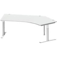 Hoekbureautafel MODENA FLEX 135°, T-poot ronde buis, B 2165 mm, aanbouw rechts, lichtgrijs/blank aluminium