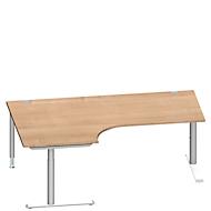 Hoekbureautafel MODENA FLEX 90°, aanbouw links, C-poot ronde buis, B 2000 mm, kers Romana/wit
