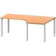 Hoekbureautafel MODENA FLEX 90°, aanbouw rechts, 4-poot vierkante buis, B 2000 mm, beuken/wit