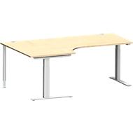 Hoekbureautafel MODENA FLEX 90°, C-poot rechthoekige buis, B 2000 mm, aanbouw links, esdoorn/blank aluminium