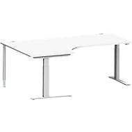 Hoekbureautafel MODENA FLEX 90°, C-poot rechthoekige buis, B 2000 mm, aanbouw links, wit/blank aluminium