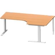 Hoekbureautafel MODENA FLEX 90°, C-poot rechthoekige buis, B 2000 mm, aanbouw rechts, beuken/blank aluminium