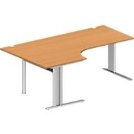 Hoekbureautafel, PLANOVA BASIC, B 2000 mm, beukenpatroon, onderstel blank aluminium