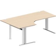 Hoekbureautafel, PLANOVA BASIC, B 2000 mm, esdoornpatroon, onderstel wit
